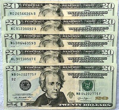 $100 $20 Dollar bills series 2004 - 2013 various FRB district lightly circulated