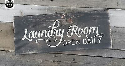 Primitive Handmade Wooden Sign Laundry Room Country Rustic Distressed Home
