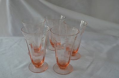 Tiffin-Franciscan Optic floral cut pink depression glass / stemware glass
