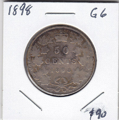 1898 Canada Sterling Silver 50-Cent Half Dollar Coin