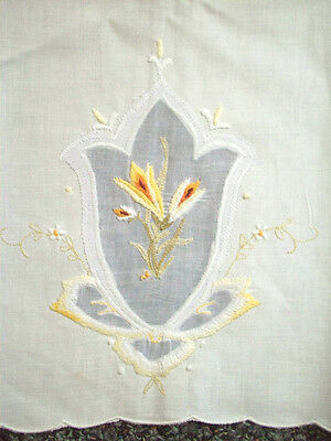 2 Finely machine embroidered  floral guest hand towels