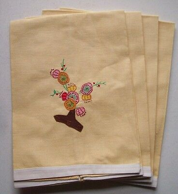 """SET OF 4 applique & embroidered cotton flower GUEST TOWELS  EACH 20"""" X 15"""""""