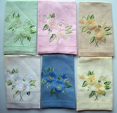 6 matching  hand embroidered  floral linen guest towels vintage