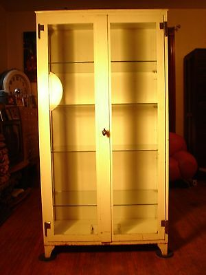 Antique Vintage Industrial Beveled Glass Doctor's Office Medical Cabinet.