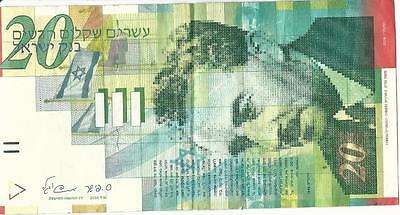 Israel 20 New Sheqalim Shekel Banknote  Moshe Sharett 2008 Circulated NIS