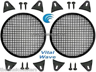 """2X Black PLASTIC 10"""" inch Sub Woofer Speaker WAFFLE GRILL Protective Cover VWLTW"""