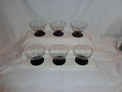 Vintage Glass Black Amethyst Base Optic Sherbet Dessert Glasses (6)