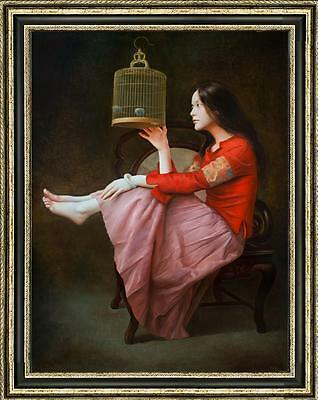 """Art Original Oil painting Portrait Chinese Girl on Canvas 24""""x36"""""""