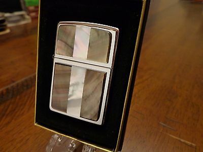 Pearl White & Brown High Polish Chrome Zippo Lighter Mint In Box 1998