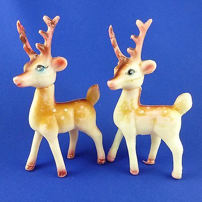 2 Vintage Christmas Reindeer Figurines Soft Plastic Movable Heads Hong Kong 6""