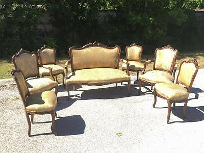 7 PIECE ITALIAN LOUIS XV STYLE CARVED OPEN ARM SOFA AND CHAIRS 19TH C ( 1800s )