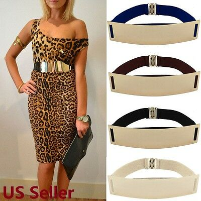 "US SHIP Women Waist Hip Wide Gold Metal Plate Fashion Black Elastic Belt 27""-33"""