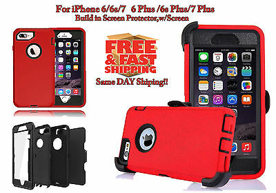promo code ab613 df3e3 FOR IPHONE 6/6S/7/8 Plus & X RED Defender Case Cover [Clip Fits Otterbox]