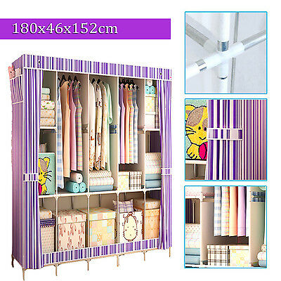 Multiple Colors Triple Portable Non-Woven Wardrobe Bedroom Clothing Storage SGS