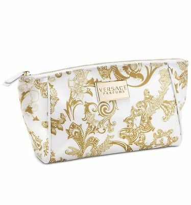 Versace Women Make-Up Pouch /cosmetic Toiletry Bag Gold & White