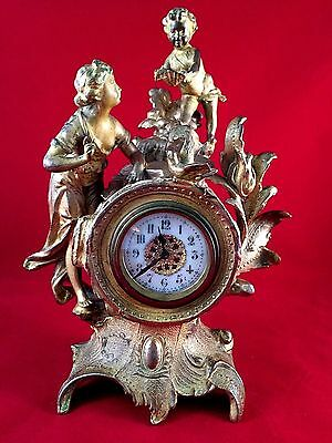 French Antique Bronze gilded mantel Clock c. 19th