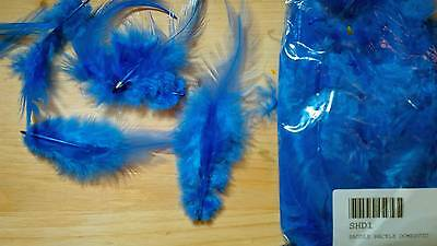 Domestic Saddle Hackle (Dyed Blue) 5 gram bag