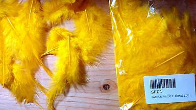 Domestic Saddle Hackle (Dyed Yellow) 5 gram bag