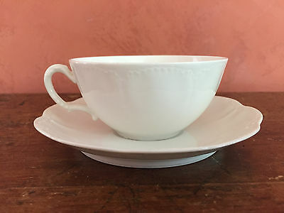 Antique Haviland Limoges France Marseille All White Cups And Saucers Set Of 2