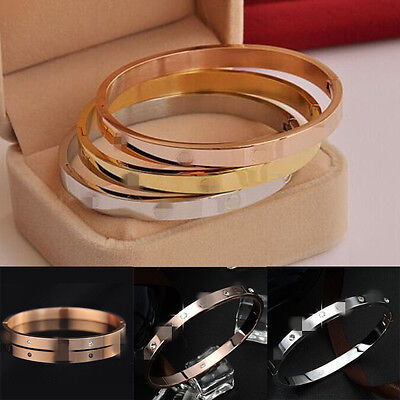 Fashion Gold-plated Stainless Steel Women's Cuff Bangle Jewelry Crystal Bracelet