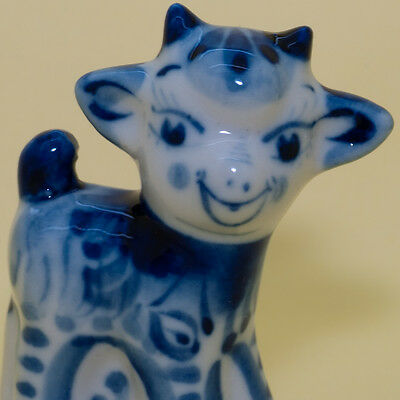 Figurine gzhel Young Goat painted in blue porcelain handmade