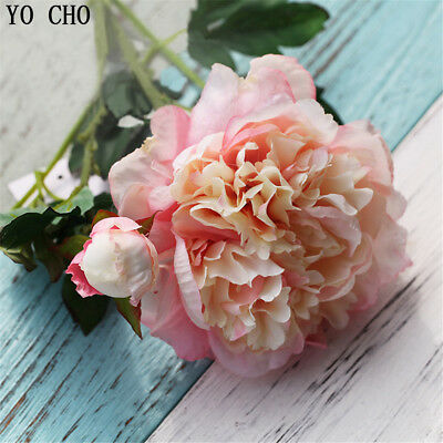 2 Heads Large Peony Artificial Silk Flowers Wedding Bouquet Party Home Decor