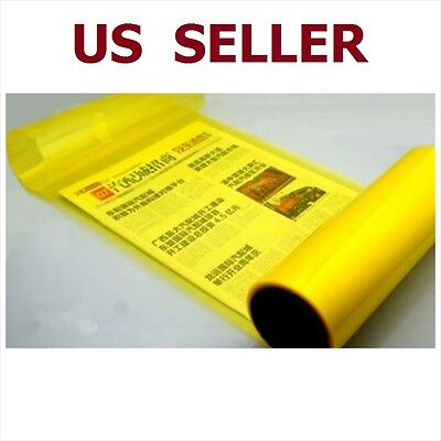 "12"" x 48"" Car Tint Headlight Taillight Fog Light Vinyl Smoke Film Sheet Yellow"