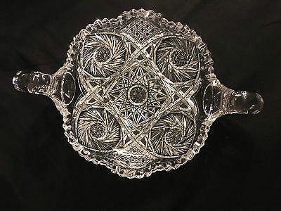 "Antique American Brilliant Cut Glass Double Handled Pinwheel Large 12"" Bowl"