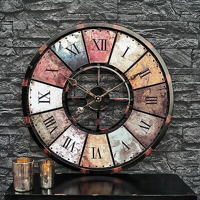 Vintage Antique Designer in XXL Wall clock Kavi 60 cm made of metal & MDF