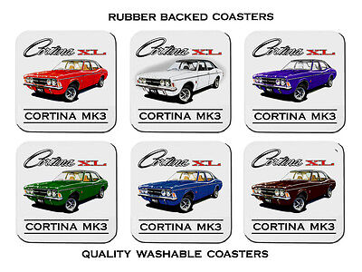Ford   Cortina  Tc  Mk3       Set Of  6   Quality Rubber Drink  Coasters