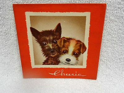 Scotty Scottie Dog And Airedale Puppy  Red Edge  Christmas Card