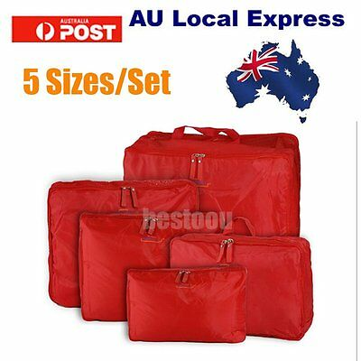 5pcs Packing Cube Pouch Travel Clothes Suitcase Storage Bags Luggage AUOJ