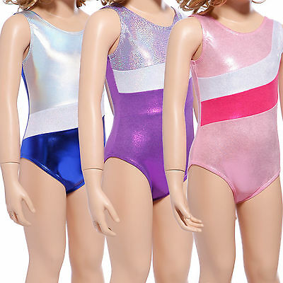 Girls Kids Metallic Sparkly Foil Gymnastics Leotards Stripe Ballet Dance Unitard