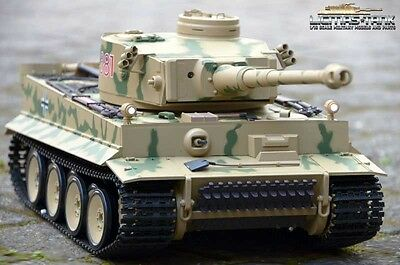 RC Panzer 2.4 GHz Tiger 1 Camouflage Metallgetriebe Rauch & Sound Heng Long 1:16
