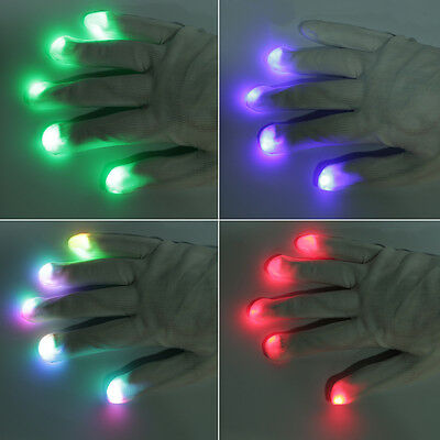 7 Mode LED Gloves Rave Light Flashing Finger Lighting Glow Mittens Magic AUOJ