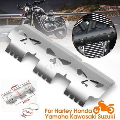 7 1/4'' Skull Motorcycle Exhaust Muffler Heat Shield Cover For Harley Yamaha -UK