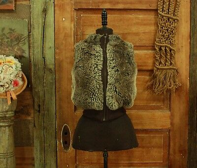 vintage 1990s brown plush faux fur puffy vest tiny fit XS