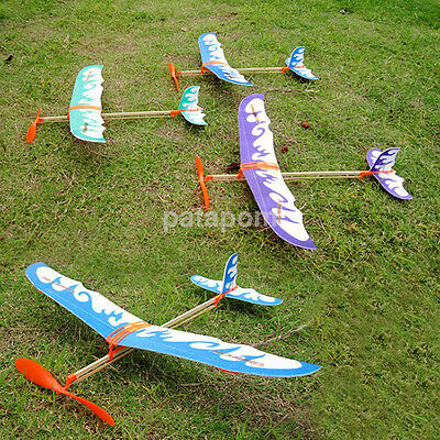 Practical Glider Rubber Band Elastic Powered Flying Plane Airplane Fun Model Toy