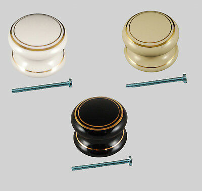 Packs Of White, Cream, Black Cabinet Drawer Knobs Double Goldline Design + Bolts
