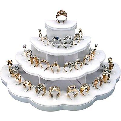 29 Slot Ring Display Jewelry Stand Showcase 4 Tier Organize Counter  Store White