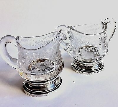 "Vintage Cambridge Elegant Glass ""chantilly"" Sterling Silver Base Cream & Sugar"