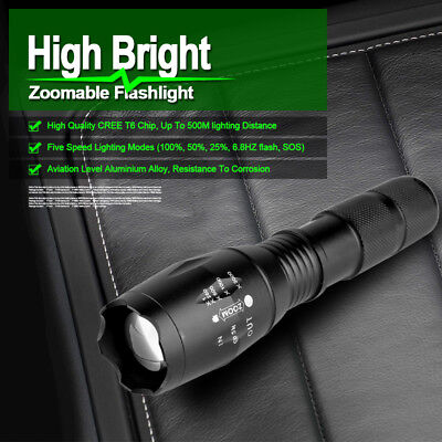 5000LM CREE T6 LED Zoomable Flashlight Waterproof Torch Super Bright Hunt Light
