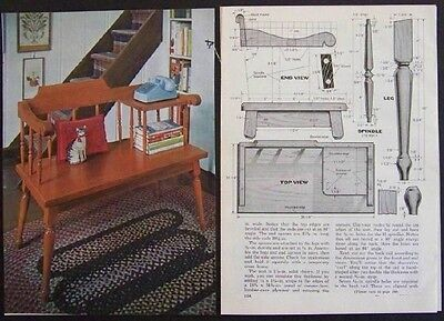 Early American GOSSIP BENCH Telephone Stand How-To build PLANS Cherry COLONIAL