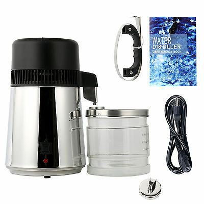 All Stainless Steel Internal,1Gal 4L Pure 110-120V AC 750W Water Distiller-BLACK