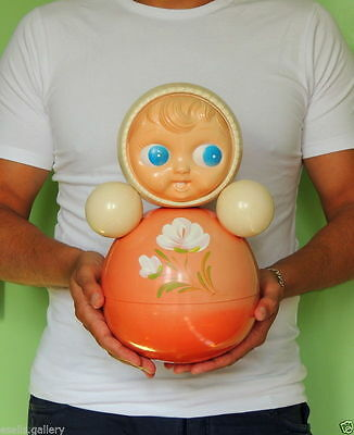 Big Vintage Russian Nevalyashka Celluloid Plastic Roly Poly Toy Doll USSR 30cm