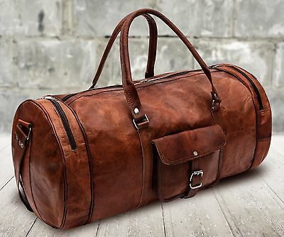 Large Brown Leather Holdall Duffle Gym Travel Weekend Cabin Bag