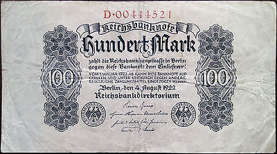 Weimar Germany banknote - 100 hundert mark - year 1922 - hyperinflation