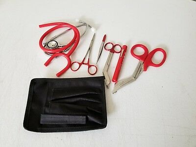 RED Paramedic Set - Diagnostic EMT Nursing EMS Emergency Dual Head  Stethoscope