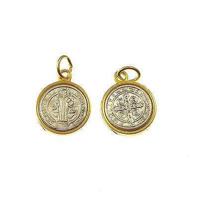 St. Saint Benedict silver and gold 19mm medal for rosary beads Catholic pendant