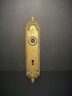 Antique Brass Door Knob Keyhole Plate Cover Escutcheon Key Art Nouveau